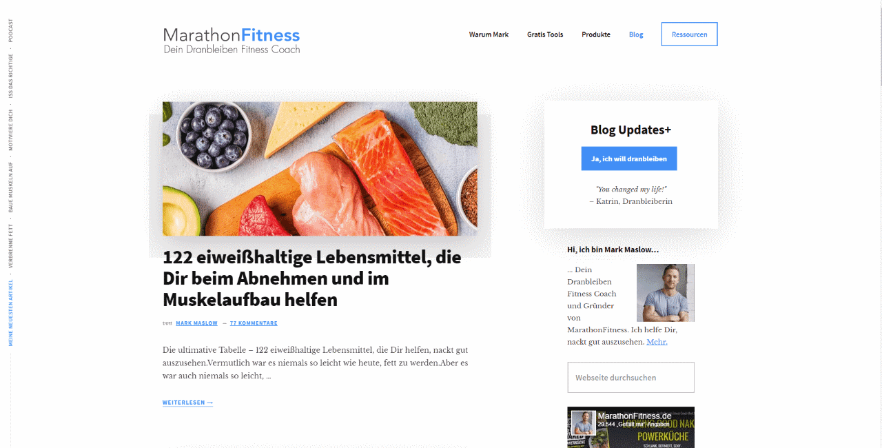 Marathon Fitness Blog mit Mark Maslow