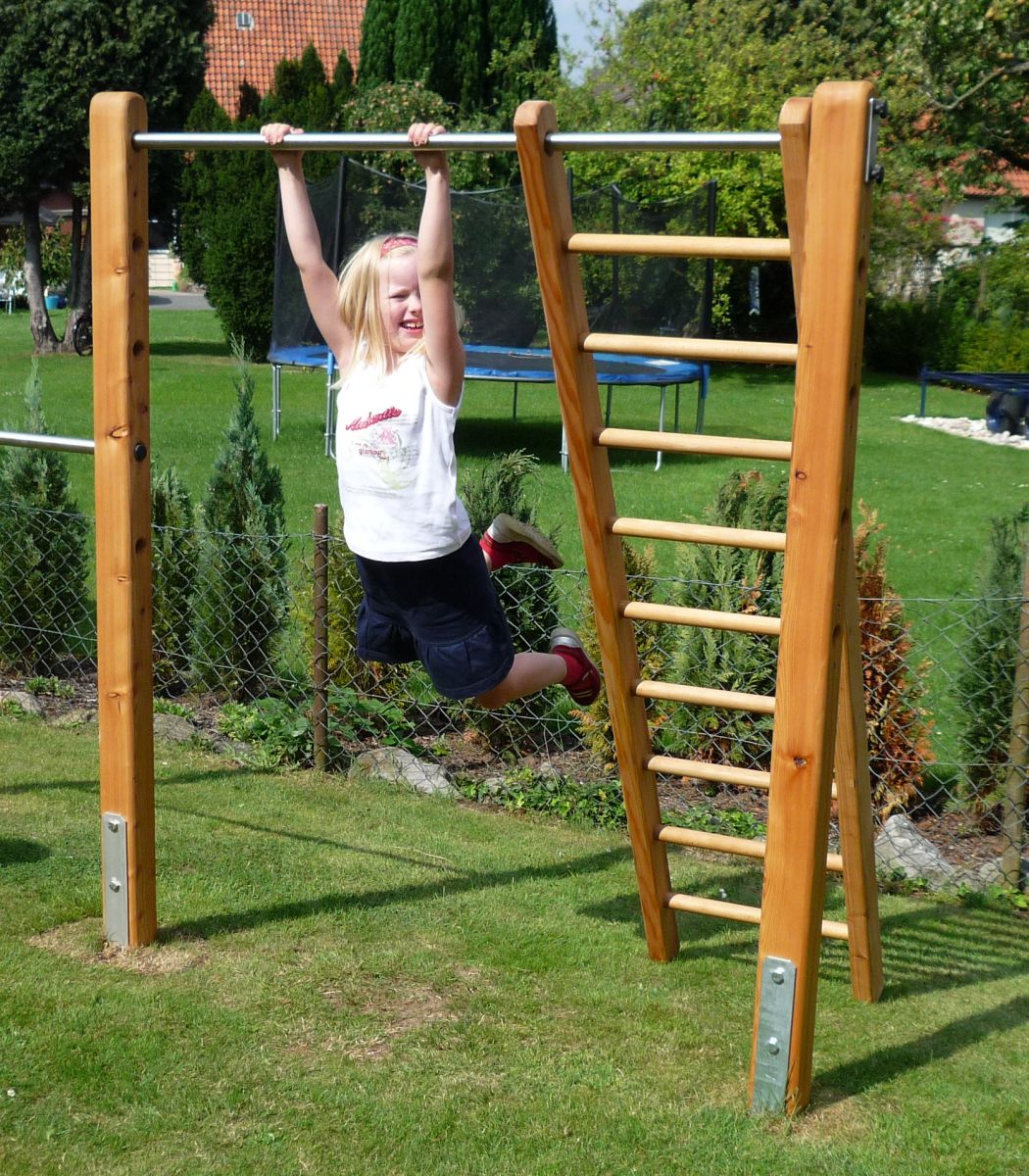 Ladder Made Of Larch Wood As An Accessory To The Gymnastic Bar